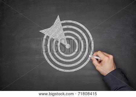 Dartboard on blackboard