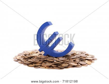 Blue euro symbol with pile of coins