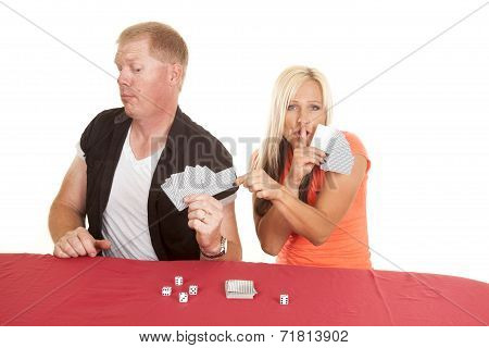 Man And Woman Playing Cards She Takes One Of His