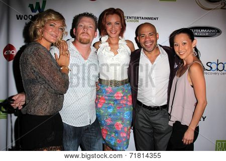LOS ANGELES - SEP 6:  Zoe Bell, Christopher Ray, Kristanna Loken, Gerald Webb, Nicole Bilderback at the