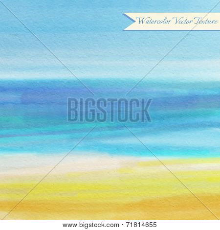 Blue Watercolor Texture With Abstract Sea Waves And Sand