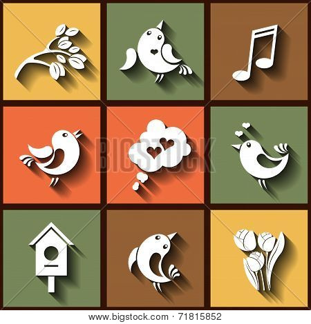 Set Of 9 Flat Icons With Birds And Flowers. Eps10