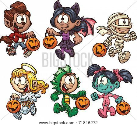 Cartoon Halloween kids. Vector clip art illustration with simple gradients. Each on a separate layer.