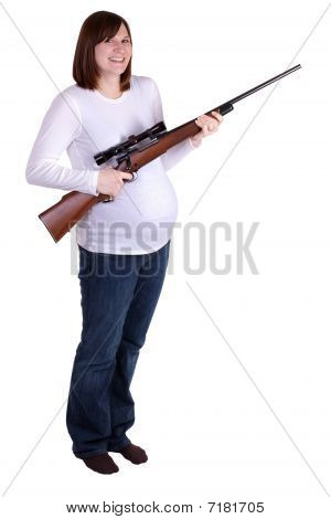 Pregnant Lady With Riffle