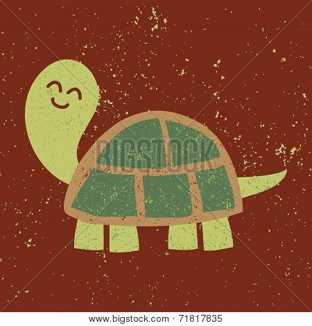 Cute turtle. Vector character. Sponge Art Effect.