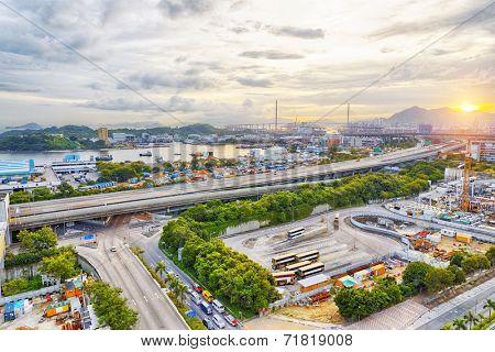 Hong kong highway at sunset