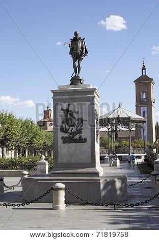 Monument of Cervantes in Alcala de Henares, Madrid, Spain