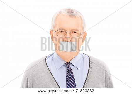 Portrait of a senior with a duct taped mouth isolated on white background