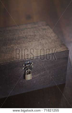 Wooden Box On Floorboards Overhead