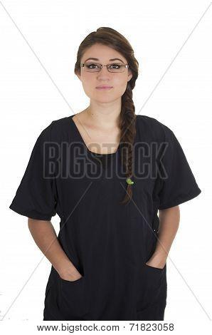 Beautiful young brunette girl intern doctor pediatrician nurse