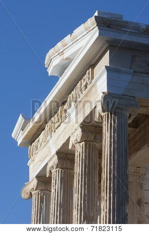 Temple Athena Nike On Acropolis Of Athens In Greece