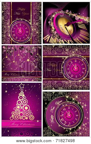 Collection of Happy New Year and Merry Christmas backgrounds