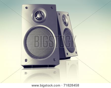 Desktop Stereo Loudspeakers Pair Perspective