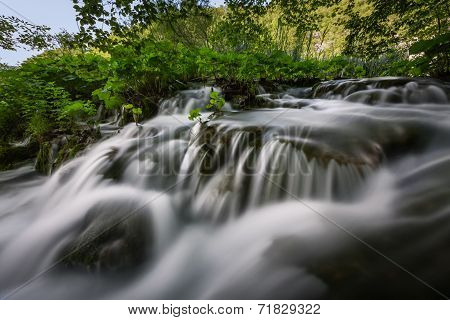 Small Waterfall In Plitvice Lakes National Park, Croatia