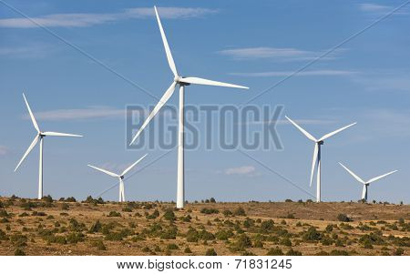 Wind Energy And Windmills In The Countryside. Spain