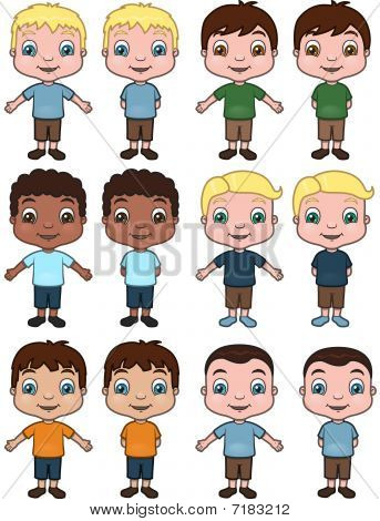 Boys - vector illustration set
