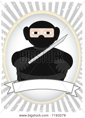Cartoon Fat Ninja in grunge ray advertisement setting