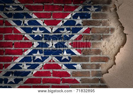 Dark Brick Wall With Plaster - Confederate Flag