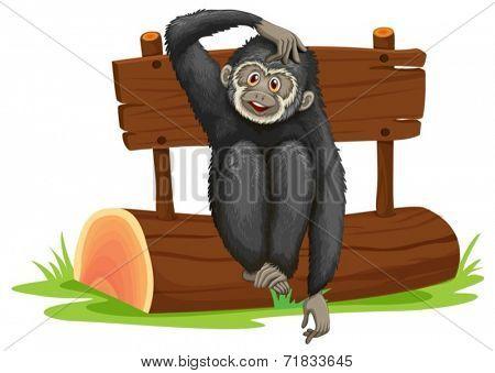 Illustration of a gibbon sitting on a log