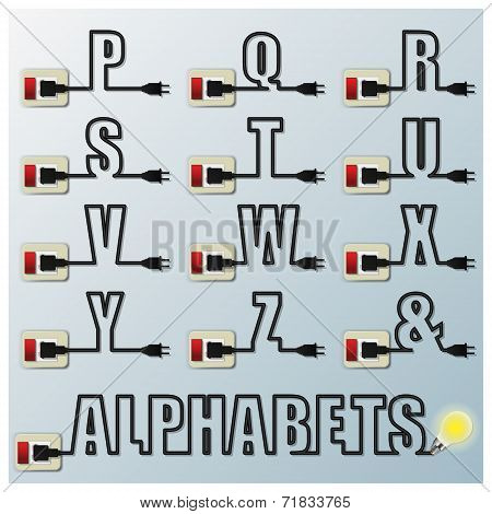 Alphabets Character Letter Electric Wire Line