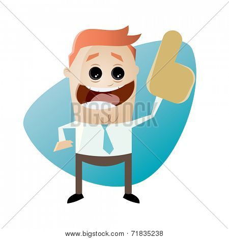 funny businessman with foam finger