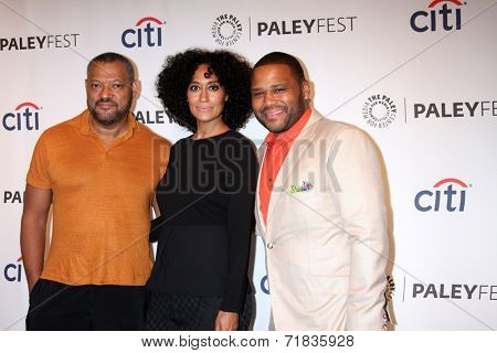 LOS ANGELES - SEP 11:  Lawrence Fishburne, Tracee Ellis Ross, Anthony Anderson at thePaleyFest 2014 Fall TV Previews - ABC at Paley Center For Media on September 11, 2014 in Beverly Hills, CA