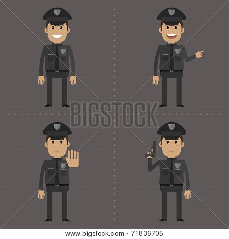Policeman fat shows in different poses