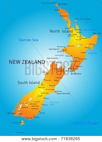 Vector color map of New Zealand country