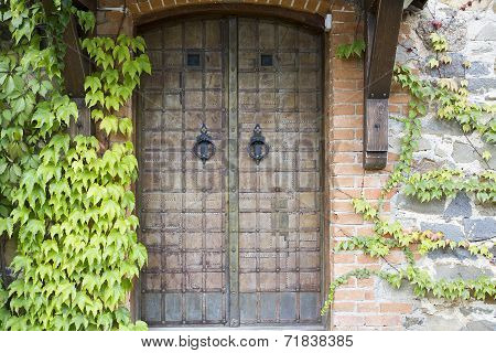 Old Door In A Stone Wall