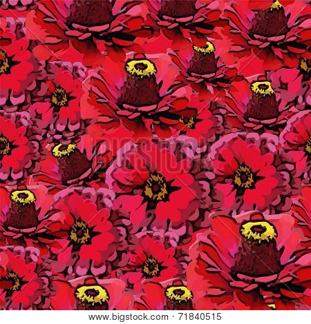 Vector seamless colorful pattern with red flowers