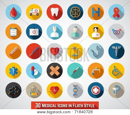 30 Medical Icons in Flat Style