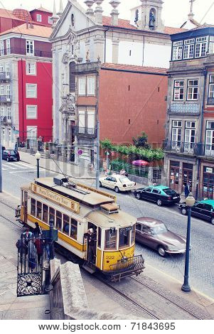 Retro Tram In Porto, Portugal.