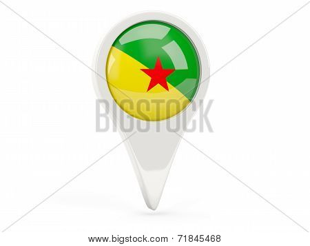 Round Flag Icon Of French Guiana