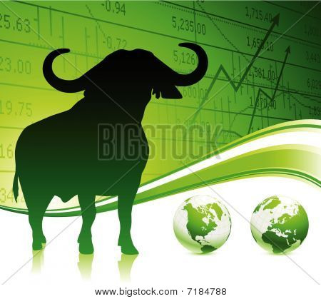 Bull On Green Business Background