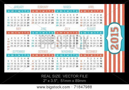 Pocket Calendar 2015, Start On Sunday