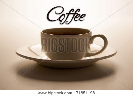 Glass Cup And Title Coffee