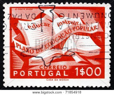 Postage Stamp Portugal 1954 Open Textbook