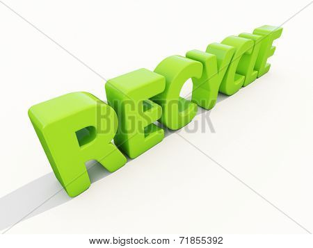 3d word recycle on a white background