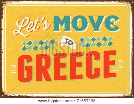 Vintage metal sign - Let's move to Greece - JPG Version