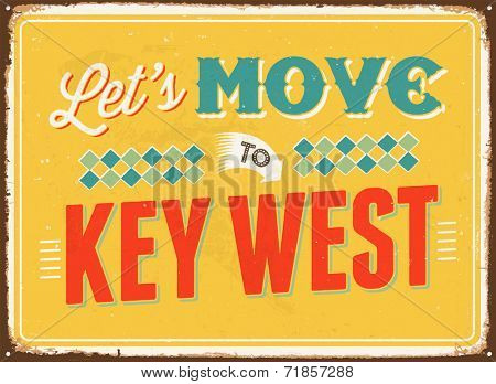 Vintage metal sign - Let's move to Key West - JPG Version