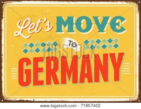 Vintage metal sign - Let's move to Germany - JPG Version