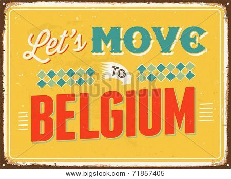 Vintage metal sign - Let's move to Belgium - JPG Version