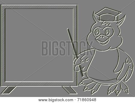 Metal Relief Wise Owl Teacher With Blackboard