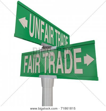 Fair Vs Unfair Trade words on two way street signs pointing you to choose businesses who offer living wages and practice environmental responsibility