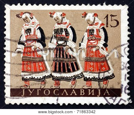 Postage Stamp Yugoslavia 1957 Macedonian National Costume