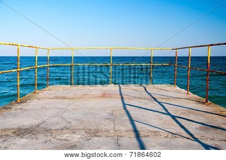 Railing And Sea