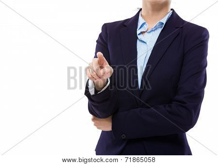 Businesswoman touch the imaginary panel