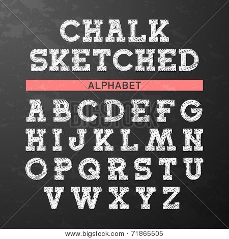 Chalk sketched font, alphabet. Vector.