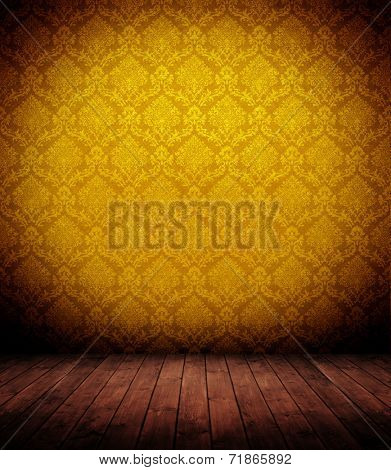 grunge wooden interior with elegant yellow wallpaper (baroque).
