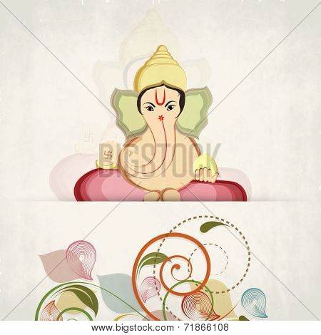 Hindu mythological Lord Ganesha giving blessings on colorful floral design decorated grungy brown background for Diwali festival celebrations.